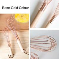 ELtamart Rose Gold Whisk Stainless Ballon Whisker Wood Handle Pengocok