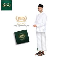Sarung Tenun BHS COSMO Polos Warna Hitam Putih Motif Original Pria COD