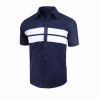 Baju Kemeja Pria Premium Lengan Pendek - Navy, M
