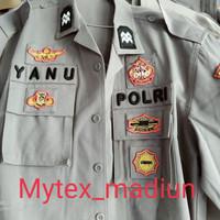 baju seragam polri 1 stel bet bordir timbul lengkap bahan portofino