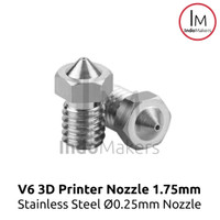 Stainless 3D Printer Nozzle E3D V6 0.25 nozzle, 1.75 Filament Diameter