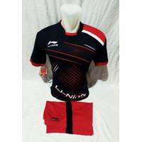Stelan olahraga pria/wanita baju badminton bulutangkis lining terbaru - HITAM, M