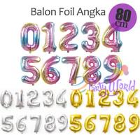 PartyWorld balon foil angka 80cm - RAINBOW, 1