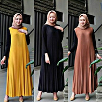 Long Dress Plisket / Plisket Alexa Sleveeless Della Kuntung Tanpa LENG