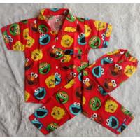 Baju tidur Wanita/set piyama anak laki-laki perempuan CP 1-5 th - COD - M, Red Sesame