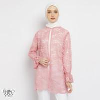 Outer Wanita Terbaru Brocade - Emikoawa Atasan Brukat Luaran Premium - Pink