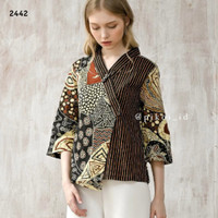 Baju batik wanita modern / batik kantor / kemeja batik peplum / kerja