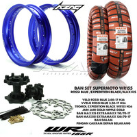 BAN SET/BANSET SUPERMOTO WR155 ROSSI BLUE TROMOL EXPEDITION MAXXIS 110