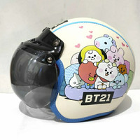 Helm Bogo Anak Usia 2 sd 7 Tahun Lucu motif Emoticon BTS BT21 - kream
