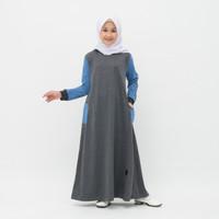 Baju gamis anak Perempuan Naura Stripe Warna Grey Umur 4-10 Tahun