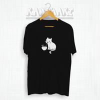 Kaos Distro Jepang CAT RAMEN Baju Gambar Kucing Anime Kaos Pria Wanita