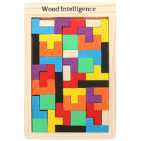 Mainan Anak Puzzle Tangram Tetris Game Susun Balok Kayu Warna Warni