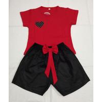 Setelan anak / baju anak / setelan anak cewe untuk umur 3-9 tahun - Merah, 3-5 thn
