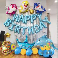 Set Foil Balloon Happy Birthday Baby Shark Ocean / Dekorasi Balon