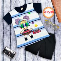 Baju Setelan anak Perempuan Full Printing LOL - 1-2 tahun