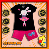 Setelan Kaos Anak Perempuan Rabbit Toes Hitam Kidz Store Indo - 1 Tahun