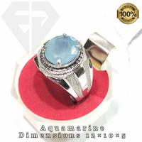cincin permata batu aquamarine beryl asli natural