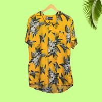 kemeja pria hawaii motif daun bunga / baju pantai surfing tropical