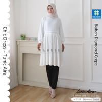 Tunik Aira Baju Wanita Muslimah Modern Tunic Chic Dress Top Blouse 218 - Broken White