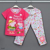 Baju Tidur Setelan Pendek Panjang Peppa Pig P-637 / PP size 8-10-12