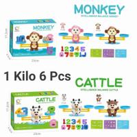 Mainan Edukasi Timbangan Monkey Balance Belajar Berhitung Model Mini