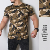 LIGHT BROWN - kaos Army pria / baju olahraga gym fitnes loreng camo