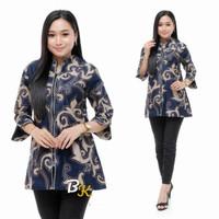 Baju Batik Kantor Wanita Blouse Atasan Lengan Panjang Katun Kombinasi