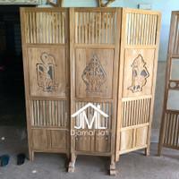 sketsel partisi pembatas ruangan kayu jati, partisi murah motif wayang