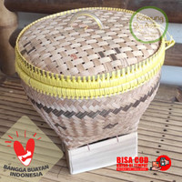 Bakul Wakul Sangkul Boboko Ceting Nasi dengan Tutup dari Bambu D22 - Batik B