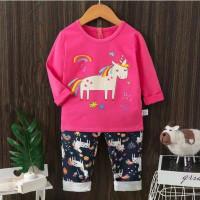 setelan baju tidur anak perempuan import 4-10th - Fanta, 5-6 tahun