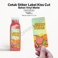 Cetak stiker label bahan Vynil Matte hasil berkualitas