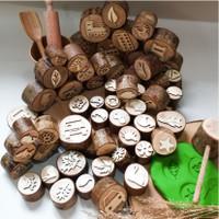 Playdough Wood Stamp - Wooden Stamp - Playdough cap kayu - Stamp kayu