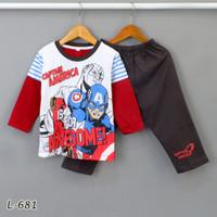Baju Tidur Setelan Panjang Panjang Captain America L-681 / PTP size 2- - Size 2