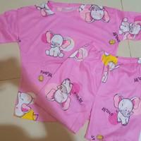 Piyama baju tidur import celana pendek - Gajah pink, all size