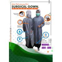 APD Gown Surgical Parasut Waterproof baju bedah anti air bisa dicuci - Abu