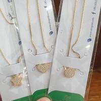 kalung koye bulat ring permata putih emas asli 375 korea simpel hwt