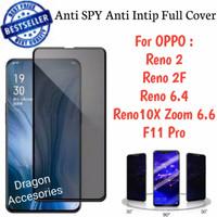 Anti SPY Privacy Full Cover F11 Pro Reno 2 2F 6.4 6.6 Oppo Magic Glass