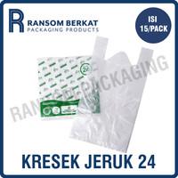 Kantong plastik kresek tenteng HD bening ukuran 24cm (PBNJRK24TGPTH)