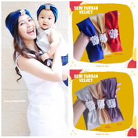 Semi Turban Pearl Velvet / headband bando bandana couple mom baby kid