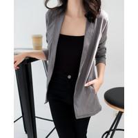 Blazer Wanita Houndstooth Bahan Cotton Stretch Pattern - Dalmi Blazer - Grey, S