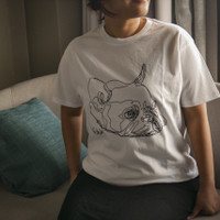 French Bulldog • Unisex White T-Shirt • by The Space Wanderer