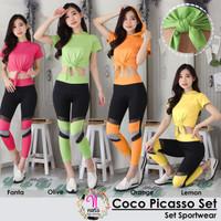 SETELAN Olahraga COCO PICASSO SET Setelan Senam Army Baju senam Yoga