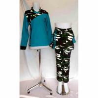 baju senam setelan wanita celana army bahan denim spandex katun - XL