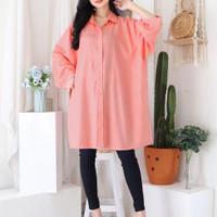 Kemeja Wanita Jumbo Kemeja Wanita Big Size Baju Tunik Jumbo Y03003-6XL