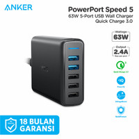 Anker Charger PowerPort Speed 5 QC 3.0 63W 5 Port USB Type A - A2054