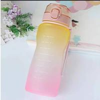 Botol Minum Tritan Quifit 3.8L penanda waktu dengan tutup flip sedotan - Orange