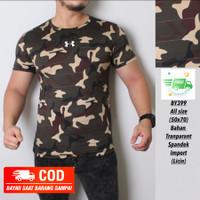(BISA COD) kaos Army pria / baju olahraga gym fitnes loreng camo DARK