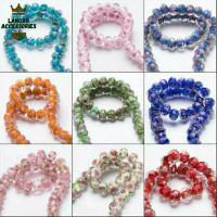 Bahan Craft Manik Bahan Batu Cristal Bunga Murano - Ada Berbagai Warna - Biru Muda, 10mm 10butir
