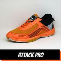 Sepatu Badminton Pria Lining Attack Pro Orange Hitam Olahraga Gym - 39