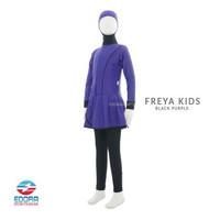Baju Renang Anak Perempuan Muslimah Kerudung Jilbab Edora Freya Kids - Black Purple, M